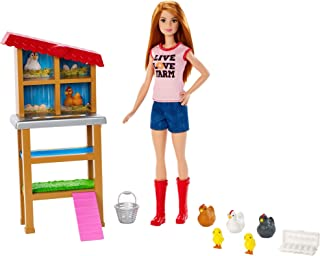 Barbie Chicken Farmer Doll, Red-Haired, and Playset with Henhouse, 3 Chickens, 2 Chicks and More, Career-Themed Toy for 3 ...