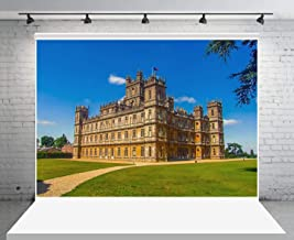 GESEN Downton Abbey Backdrop 10x7ft England Highclere Castle Background for Pictures Blue Sky Green Grass Photography Backdrop Vinyl Photo Props LSGE1413