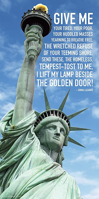 Statue of Liberty Close Up Clouds Quote Patriotic Political Print (Unframed 12x24 Poster)