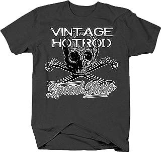 Retro Devil Vintage Speed Shop Skull Crossbones Racing Garage T Shirt for Men