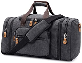 Plambag Canvas Duffle Bag for Travel, Large Duffel Overnight Weekend Bag(Dark Grey)