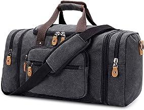 Plambag Erweiterbar Canvas Reisetasche Herren 50L / 40L, Weekender Damen Groß, Sporttasche für männer, Duffle Reisen Übernachtung Taschen, Dunkelgrau