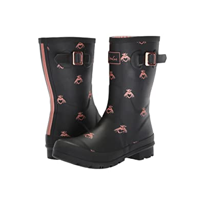 Joules Mid Molly Welly (Black Love Bees Rubber) Women