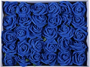 Duovlo Artificial Rose Flower 60 PCS Foam Roses Marry Bridesmaid Bouquets DIY Wedding Centerpieces Party Baby Shower Center Arrangements Decorations (Royal Blue)