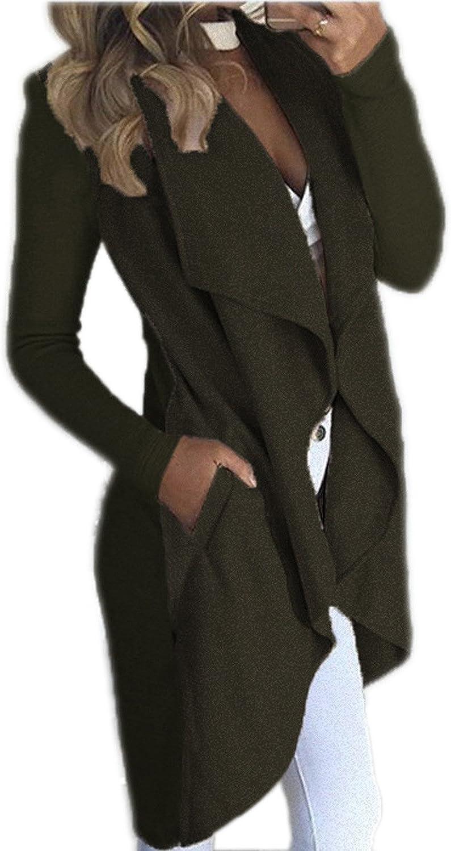 EIFFTER Women Lapel Irregular Long Sleeve Sweater Jacket Solid Open Front Cardigan Coat Casual Outerwear with Pockets