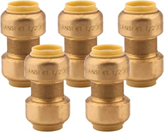 Straight Coupling Plumbing Fitting, 1/2 Inch, PEX Fittings, Push-to-Connect, Coupler, Copper, CPVC, Pack of 5