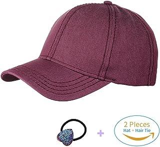 HADM Glitter Ponytail Messy High Buns Baseball Caps Adjustable Ponycap  Visor Cap Hats Navy Blue 4028007c3638
