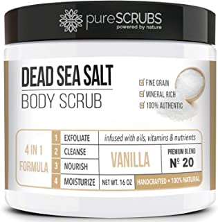 pureSCRUBS Premium Organic Body Scrub Set - Large 16oz VANILLA BODY SCRUB - Dead Sea Salt Infused Organic Essential Oils &...