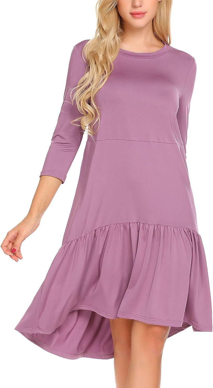 ELESOL Women's Scoop Neck 3 4 Sleeve High Low Ruffle Tiered Hem Casual Loose Dress