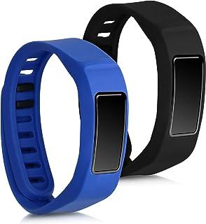 kwmobile 2X Pulsera Compatible con Garmin Vivofit 2 - Brazalete de Silicona en Negro/Azul Oscuro sin Fitness Tracker