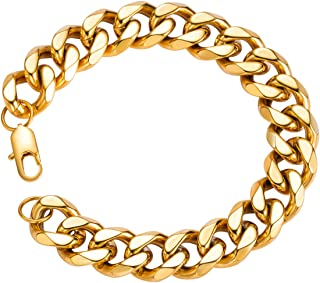 18k Real Gold Plated Curb Cuban Chain Bracelet Stainless Steel Link Bracelet for Men