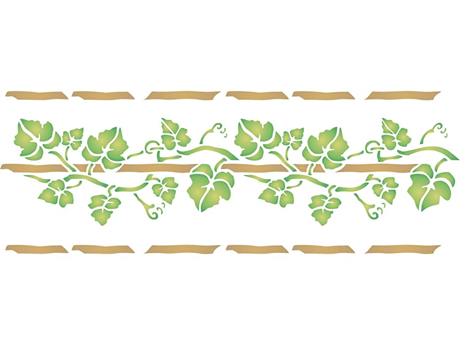 "Vine Stencil - (size 14.5""w x 6.5""h) Reusable Wall Stencils for Painting - Best Quality Wall Border Flower Stencil Ideas - Use on Walls, Floors, Fabrics, Glass, Wood, Terracotta, and More…"