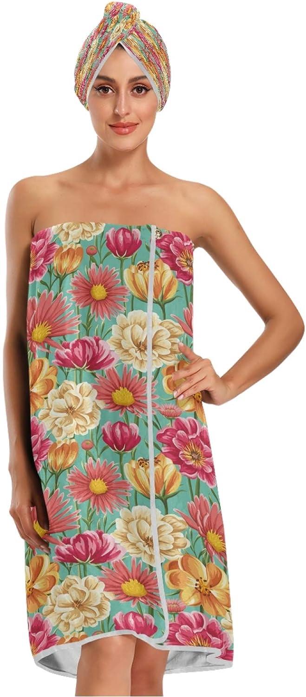 Max 48% OFF Qilmy Wrap Bath Towels Set for Do Women Colorful Art 3PCS Great interest Flower