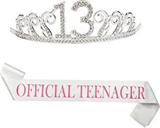 """B4MBOO 13th Birthday Crown and Sash, Glitter 13 Crown With A 25 inch """"Official Teengager"""" Pink Sash, Beautiful Tiara and Sash Set For 13th Birthday Party. Perfect Gift Birthday Party Supplies"""