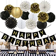 Wcaro Birthday Decorations Black Happy Birthday Banner Paper Flowers Tissue Paper Pom Poms Paper Lanterns Paper Fans for Birthday Party