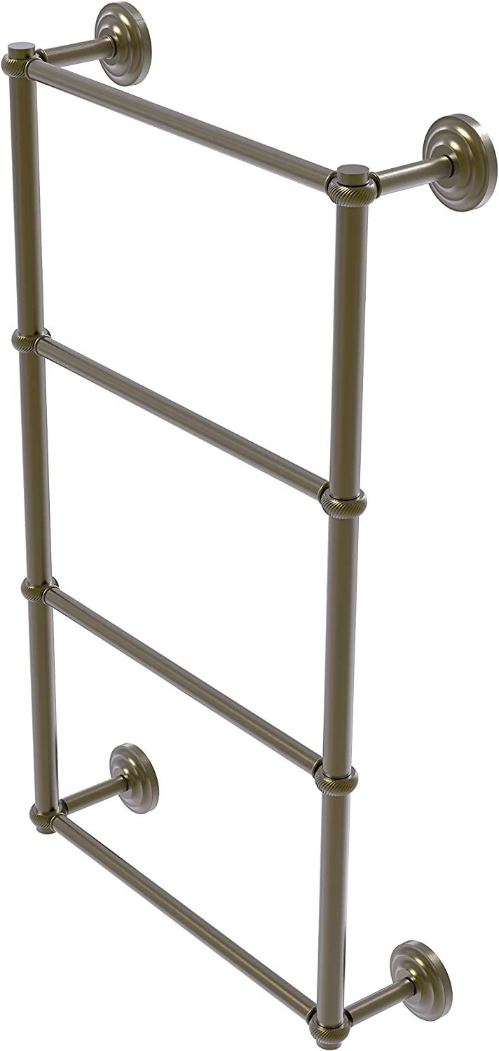 Allied Brass Que New Collection 4 Tier 24 Inch Ladder Towel Bar with Twisted Detail, QN-28T-24-ABR