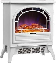 Calentador de estufa de chimenea eléctrico independiente, portátil con registro realista y efecto de llama de chimenea 3D, estufa silenciosa de chimenea eléctrica infrarroja con termostato, 1800 W,