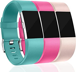 Maledan Replacement Bands for Fitbit Charge 2, Accessory Sport Wristbands Band Compatible for Fitbit Charge 2 HR Women Men, 3-Pack