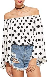 Women Off Shoulder Polka Dot Blouse Bardot Long Bell Sleeve Loose Tops Shirts (White, S)