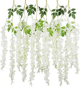 PANTINUE 6PCS/Lot 3.6feet/piece Artificial Flowers Fake Wisteria Vine Silk Flower for Wedding Decorations Home Garden Party Decor (White)