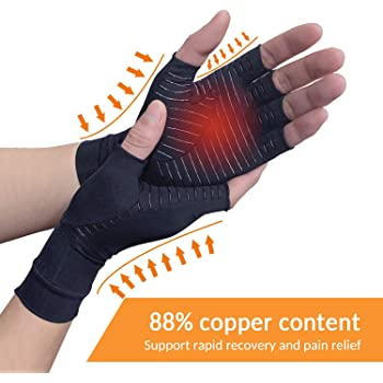 Copper Arthritis Compression Arthritis Gloves,88% Copper Content Comfortable Gloves For Pain Relief of RSI, Rheumatoid Arthritis Carpal Tunnel,Great for Joints When Sports, Housework,Computer Type