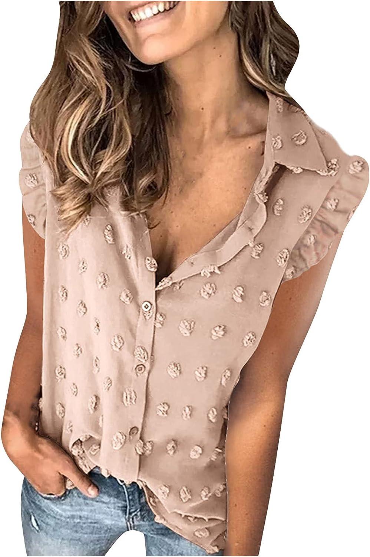 Kanzd Summer Tops for Women Fashion Swiss Dot Ruffle Sleeveless Button Down Sexy Turn-Down Collar Cardigan Vest Tops