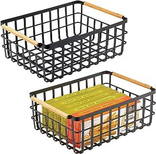 mDesign panier de rangement pratique (lot de 2) – panier en métal pour cuisine ou garde-manger – 40,6 cm x 30,5 cm x 15,2 ...