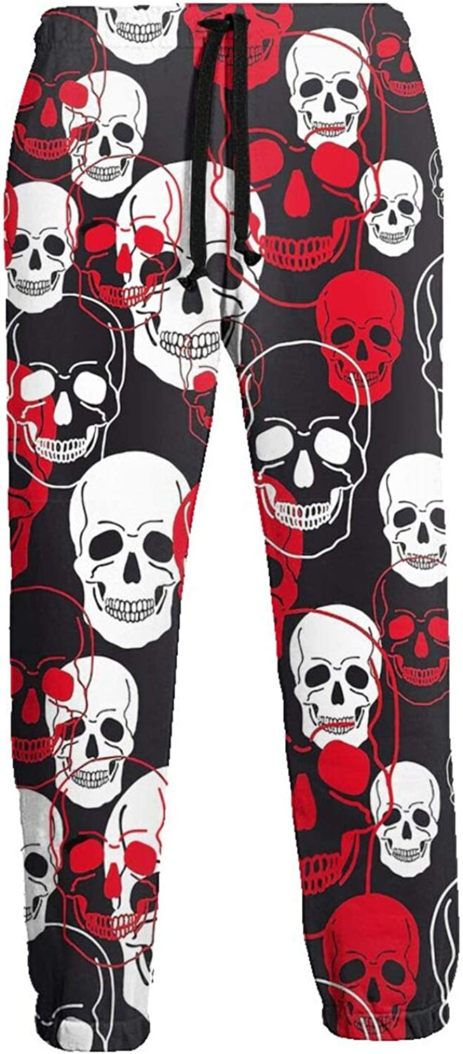Mens Jogger Sweatpants Red White Tattoo Skull Lightweight Workout Athletic Joggers Pants Trousers