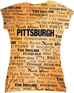 Pittsburgh Gold Womens Tee Soft Vneck Tshirt w/Rhinestone Bling
