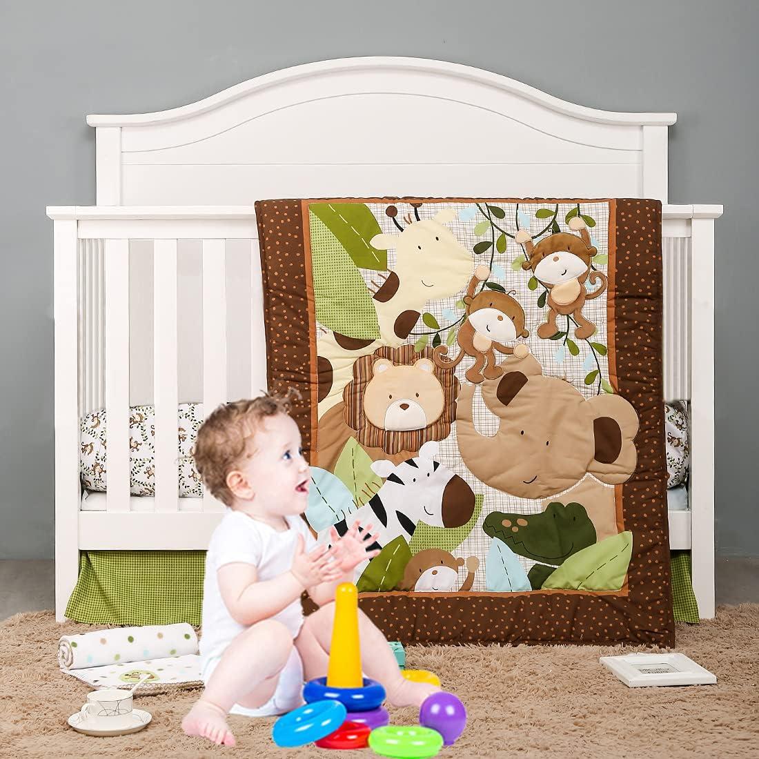 Brandream Fun Fresno Mall Forest OFFicial mail order Baby Crib Bedding Lion Zebr Set - 9-Piece