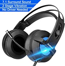 Emmabin Gaming Headset 7.1 Surround Stereo Sound Gaming Headphone with Mic Noise Isolating & Vibration Mode & Breathing LED Light Over the Ear USB Gaming Headphones for PC/Mac/ Laptop Gamers