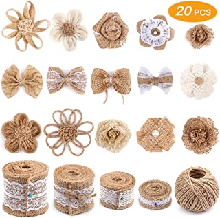 Senignol Natural Burlap Flowers Set, Include Lace Burlap Ribbon Roll, Handmade Rustic Burlap Flowers and Twine Ribbon for Wedding