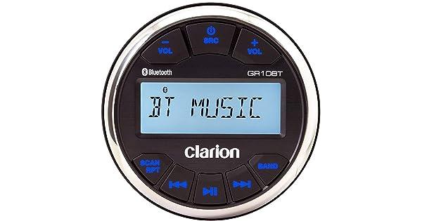 Clarion GR10BT Marine USB//MP3//WMA Gauge-Hole Digital Receiver with Built-In Bluetooth