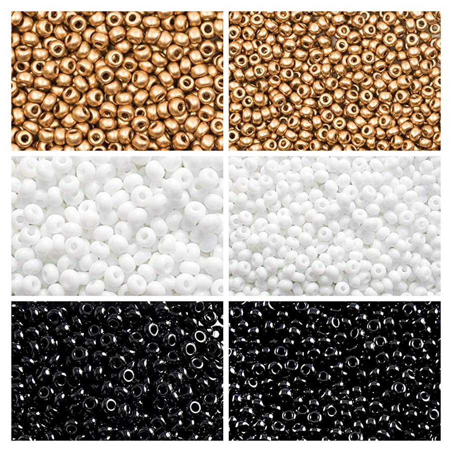 6x20gr Czech Round Glass Seed Beads, Rocailles by size 8/0 and 10/0, Three Colors. Set 3CSB 008 (8SB016 8SB017 8SB063 10SB026 10SB028 10SB189)