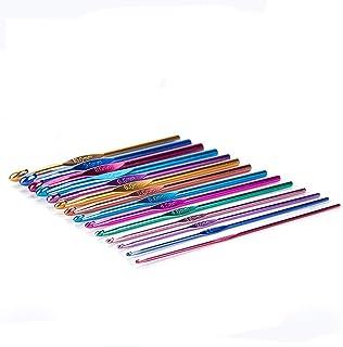 YUEMING 14 Pièces Aiguilles à Crochet,Crochets en Aluminium Tricot Outils,Multicolore Crochets,Taille 2-10 mm Aiguilles À ...