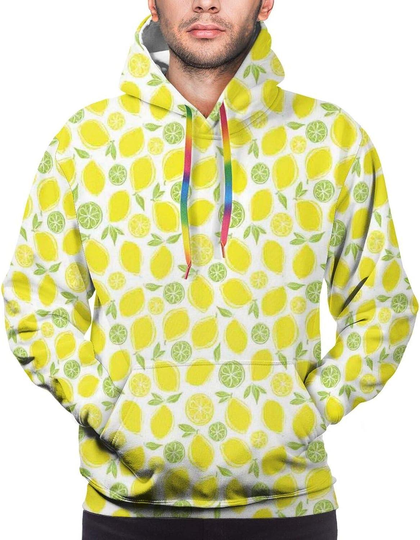 Men's Hoodies Sweatshirts,Lemons and Leaves Half Sliced Summer Juicy Art Illustration