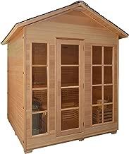 ALEKO CED6IMATRA Canadian Red Cedar Indoor Outdoor Wet Dry Sauna with 4.5 kW ETL Certified Heater 4 Person 71 x 47 x 85 Inches