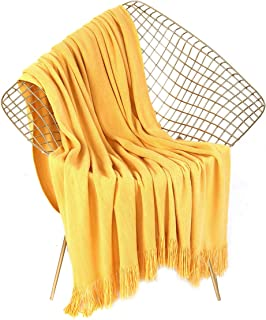 LEEVAN Luxury Super Soft Throw Blanket Lightweight Cozy & Warm Acrylic Blanket with Decorative Tassels for Couch Sofa Bed Travel All Seasons Daily Use (Yellow, 51