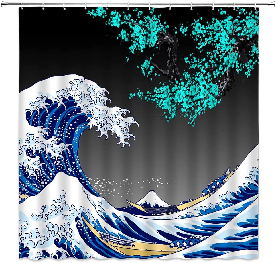 LAEDCIITI Fixed price for sale Max 85% OFF Plum Blossom Shower Curtain Wave Ocean B Hokusai Great