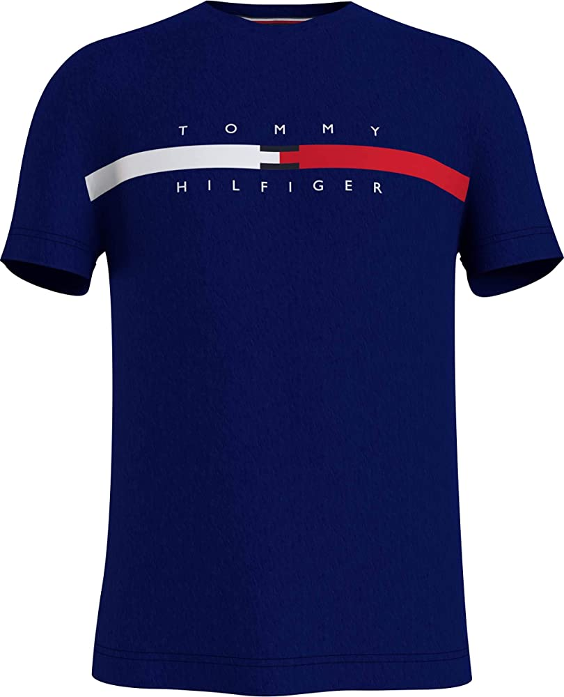 Tommy hilfiger global stripe chest tee t-shirt maglietta da uomo a maniche corte cotone biologico (100%) MW0MW16572C