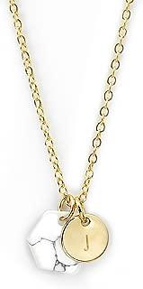 MignonandMignon Gold Raw Stone Marble Pendant Necklace Personalized Howlite Necklace Minimalist Marble Jewelry Geometric Pendant Earthy Necklace - HMN-TC