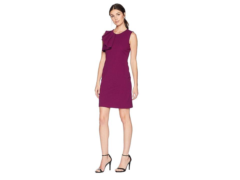 Bebe Asymmetrical Ruffle Sheath Dress (Plum) Women