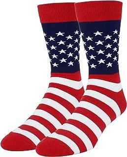 Men's Novelty American Flag Cotton Crew Socks Crazy Funny USA Christmas Gift