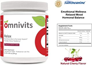 Omnivits Relax Natural Cherry Flavor | Magnesium as Albion Di-Magnesium Malate, Myo-Inositol, Taurine, GABA, L-Theanine (Suntheanine) | Healthy Blood Pressure, Emotional Wellness| Powder 60 Serving