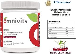 Omnivits Relax Natural Cherry Flavor | Magnesium as Albion Di-Magnesium Malate, Myo-Inositol, Taurine, GABA, L-Theanine (Suntheanine) | Healthy Blood Pressure, Emotional Wellness| Powder 60 Serving