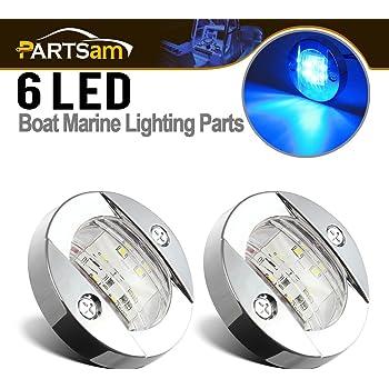 "Partsam 2pcs 3"" inch Round Navigation Lights Chrome Boat Marine Clear Lens Blue 6-2835-SMD LED Transom Mount Stern Anchor Lamps 12V Flush Mount,IP67 Waterproof (Pack of 2)"