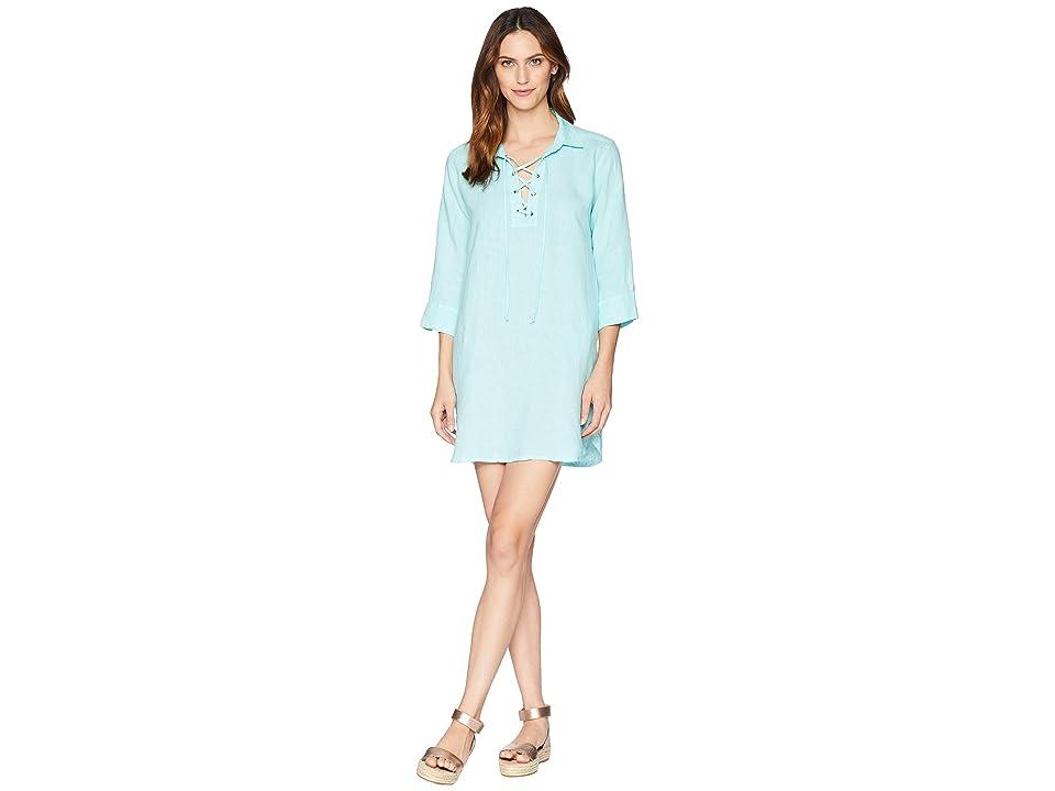 Image of Allen Allen 3/4 Sleeve Tie Front Dress (Aquamarine) Women's Dress