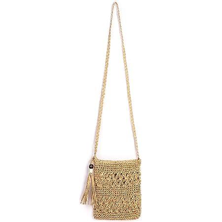CHIC DIARY Strohtasche Damen Crossbody Tasche Retro Strandtasche mit Quaste Casual Umhängetasche Schultertasche Handytasche