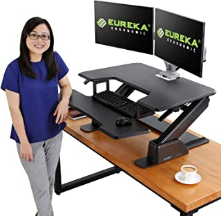 Eureka Ergonomic V1 Sit to Stand Desk Converter, 36'' Height Adjustable Standing Desk Converters Desktop Stand Computer Workstation Home Office Computer Desk - Black