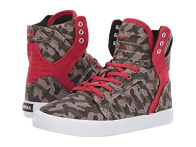 Supra Kids Skytop (Little Kid/Big Kid) (Camo/White) Boys Shoes
